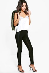 Boohoo Snake Skin Leather Look Panel Leggings Black