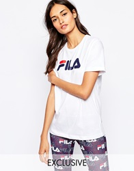 Fila Oversized Boyfriend T Shirt With Front Logo White