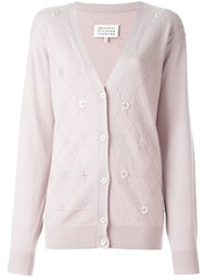 Maison Martin Margiela Button Embellished Argyle Cardigan Nude And Neutrals