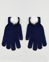 7X Pom Pom Gloves Navy