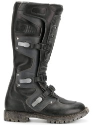 Balenciaga Rider Moto Boots Leather Polyester Rubber Black