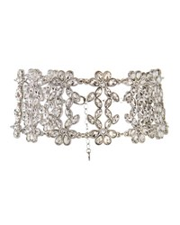 Lydell Nyc Wide Cubic Zirconia Flower Choker Silver