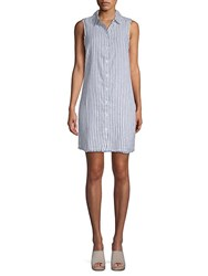 Beach Lunch Lounge Sleeveless Striped Shirtdress Blue Sail