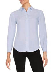 Lord And Taylor Petite Linen Blouse Faded Blue