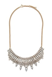 Forever 21 Rhinestone Teardrop Statement Necklace Antic Gold Clear