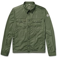 Moncler Triomphe Cotton Trimmed Nylon Shirt Jacket Army Green