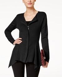 Alfani Zip Front Handkerchief Hem Cardigan Created For Macy's Deep Black