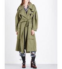 Burberry Oversized Ramie And Cotton Blend Coat Military Green