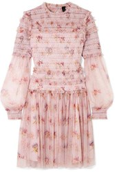 Needle And Thread Think Of Me Sequined Shirred Floral Print Tulle Mini Dress Pastel Pink