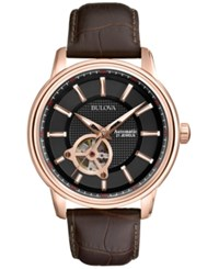 Bulova Men's Automatic Mechanical Brown Leather Strap Watch 45Mm 97A109