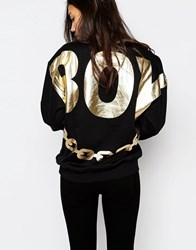 Boy London Back Print Chain Sweat Black Gold