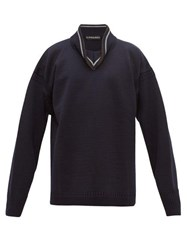 Y Project Folded High Neck Wool Sweater Navy