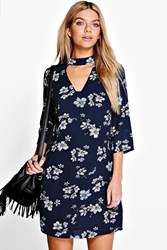 Boohoo Bohemia Floral Cut Out Shift Dress Midnight