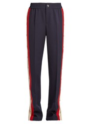 Gucci Striped Side Wool And Silk Blend Trousers Navy Multi