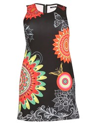 Samya Plus Size Abstract Print Fitandflate Dress Black
