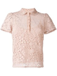 Red Valentino Embroidered Polo Shirt Pink Purple