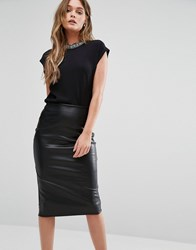 New Look Embellished Neck Shell Top Black