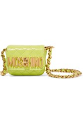 Moschino Neon Quilted Leather Shoulder Bag Yellow