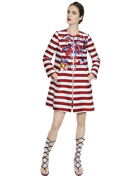 Antonio Marras Embroidered Grosgrain Coat Bordeaux White