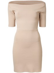 Dion Lee Suspended Ribbed Pencil Dress Nude Neutrals