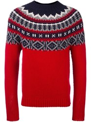 Moncler Fair Isle Knit Jumper Red