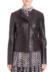 St. John Scallop Trim Leather Jacket Caviar