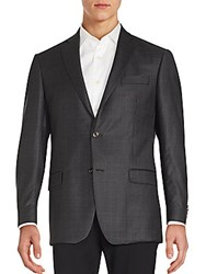 Michael Kors Plaid Wool Blazer Charcoal