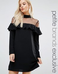 Fashion Union Petite Sheer Mesh Insert Dress With Frill Detail Black