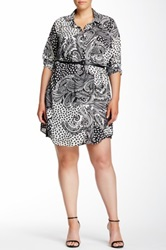 Single Dress Riley Printed And Faux Leather Belted Shirt Dress Plus Size Gray