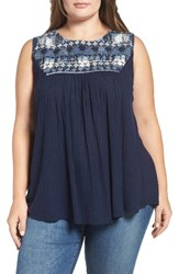 Lucky Brand Plus Size Women's Embroidered Tank