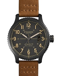 Filson The Mackinaw Field Leather Strap Watch 43Mm Gray Brown