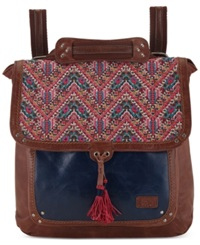 The Sak Ventura Leather Backpack Pink Embroidery