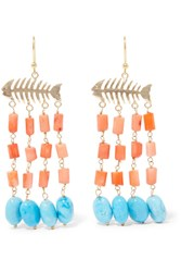 Rosantica Saona Gold Tone Beaded Earrings Coral