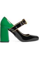 Prada Patent Leather Mary Jane Pumps Emerald