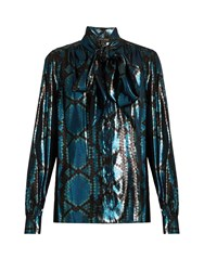 Marc Jacobs Python Silk Blend Lame Blouse Blue Multi