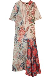 Biyan Anahita Asymmetric Printed Silk Crepe De Chine Dress Antique Rose