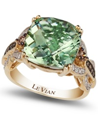 Le Vian Green Amethyst 6 Ct. T.W. And Diamond 1 3 Ct. T.W. Ring In 14K Gold