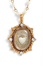 Virgins Saints And Angels Oval Pinto Sacred Heart Magdalena Rosary Necklace Tobacco Cream Accents Gold