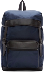 Yohji Yamamoto Navy Nylon And Leather Backpack