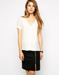 Y.A.S Short Sleeve Blouse With Lace Back Whisperwhite