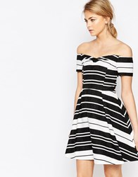 Oasis Textured Stripe Bardot Dress Black Ivory Multi