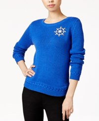 Maison Jules Nautical Patch Sweater Only At Macy's Cobalt Glaze