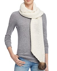 Ugg Scarf With Pom Poms 100 Bloomingdale's Exclusive Ivory