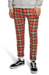 Topman Terry Check Skinny Pants Orange Multi