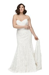 Watters Plus Size Alice Embroidered Strapless Trumpet Gown Ivory Ivory Gardenia
