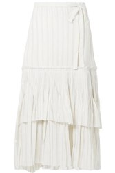 Brock Collection Ortensia Ruffled Striped Cotton Voile Wrap Maxi Skirt Off White