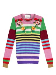 Gucci Applique Striped Wool And Cashmere Sweater Neutral