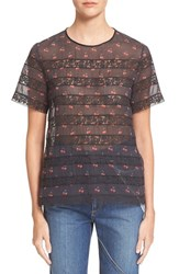 Marc By Marc Jacobs Women's Marc Jacobs Cherry And Dot Print Cotton Voile And Lace Top