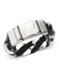 Sutton By Rhona Sutton Stainless Steel And Black Leather Chain Bracelet Silver