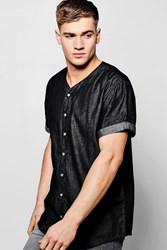 Boohoo Chambray Baseball Shirt Black
